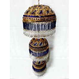Round Shaped Gold Platted Chattar ( Blue Studs)
