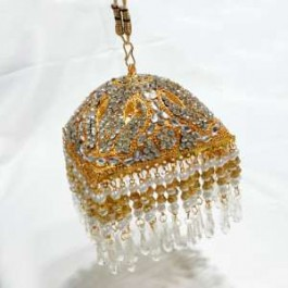 Square Shaped Gold platted 6 inches Chattar With White Studs