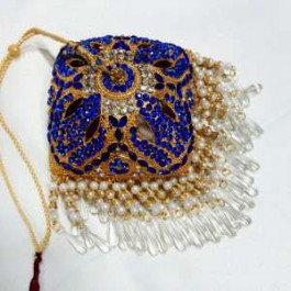 Square Shaped Gold platted 6 inches Chattar With blue Studs