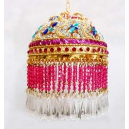 Gold plated 6 inches Chattar With Multicolour studs