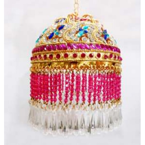 Gold plated 4 inches Chattar With Multicolour studs