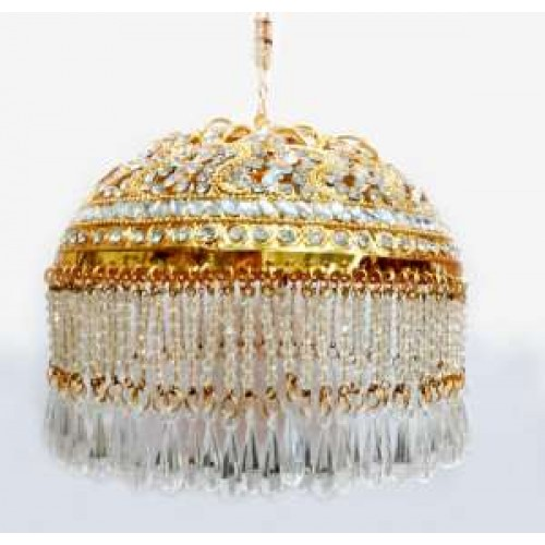 Gold plated 3 inches Chattar With White studs